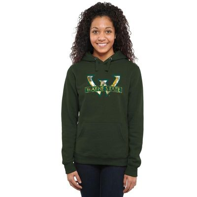 Wayne State Warriors Women's Classic Primary Pullover Hoodie - Forest Green