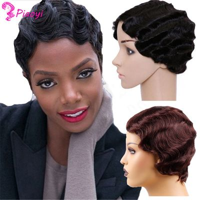 Pixie Cut Wigs Finger Wave Wigs Natural Human Hair Wigs For Black Women Short Curly Bob Wigs Machine Made wig Free to Brazil