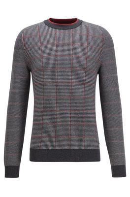 HUGO BOSS - Knitted Sweater In A Cotton Blend With Checked Panels