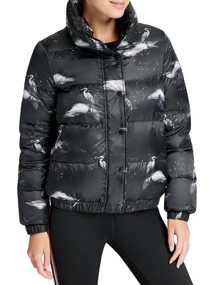 DKNY Sport Printed Stand Collar Puffer Jacket