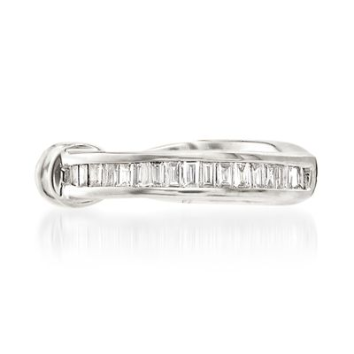 Ross-Simons Baguette Diamond-Accented Single Ear Cuff in 14kt White Gold