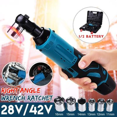Electric Ratchet Wrench Rechargeable Electric Cordless Right Angle Wrench Kit 2 Lithium-Ion Battery For Car 12V 18V 28V 42V