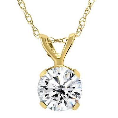 Certified 3/4ct Diamond Solitaire Pendant 14K Yellow Gold Necklace