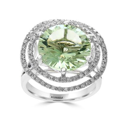 Effy Jewelry Green Amethyst Cocktail Ring with Diamonds in 14K White Gold, 8.78 TWC