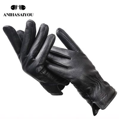 2020 New deer skin gloves male winter,Simple mens leather gloves, Soft men's gloves,Black Genuine Leather touch gloves - 8025