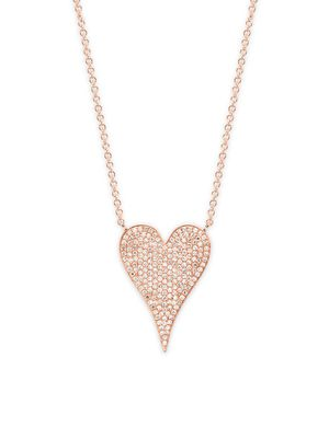 Diana M Jewels 14K Rose Gold & 0.43 TCW Diamond Heart Pendant Necklace