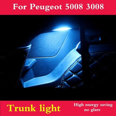 LED Trunk light replacement wick bulb Crystal blue and White light For Peugeot 5008 3008 2017 2018 2019 interior modification
