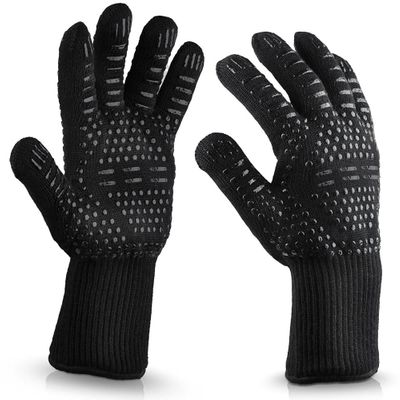 BBQ Gloves 300-500 Centigrade Extreme Heat Resistant Lining Cotton Oven for Cooking Flame-retardant Anti-scalded BBQ Work Gloves