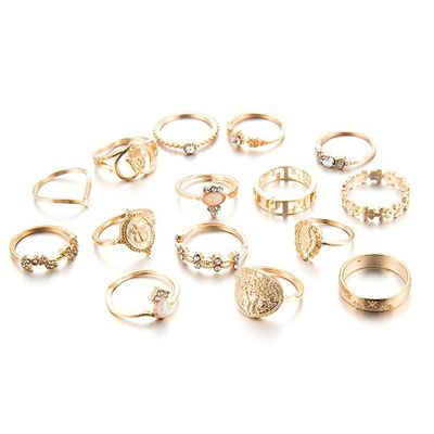 Creative Vintage Ring Set Beauty Head Gold Coin Cross Pattern Diamond Love Ring 15Pcs Vintage Ring Set