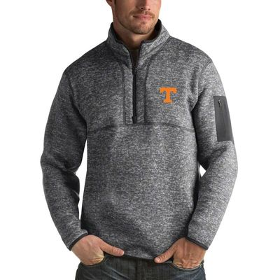 Tennessee Volunteers Antigua Fortune 1/2-Zip Pullover Sweater - Heathered Charcoal