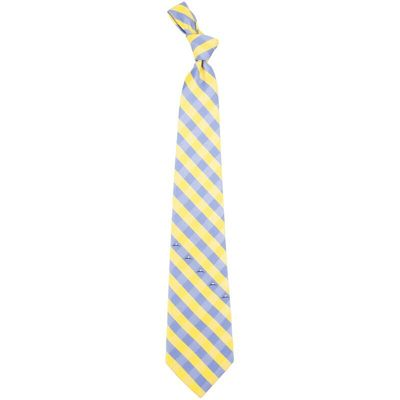 Denver Nuggets Woven Checkered Tie - Powder Blue/Gold