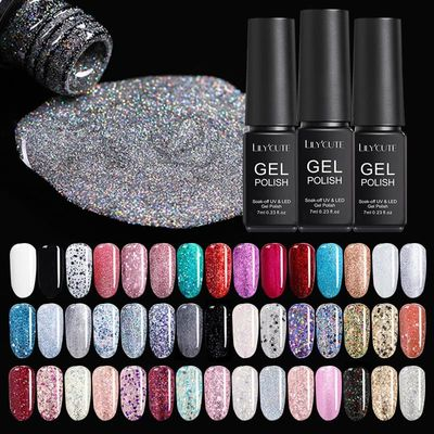 LILYCUTE 7ml Gel Nail Polish  Glitter Nail Gel LED UV Gel Varnish Soak Off DIY Nail Art Gel Polish 146 Colors