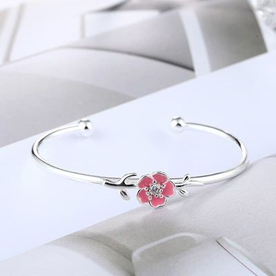 Silver Color S925 Stamp Pink Cherry Blossoms Bangle Bracelet Delicate Drop Glaze Open Cuff Bangle For Women Jewelry S-B278