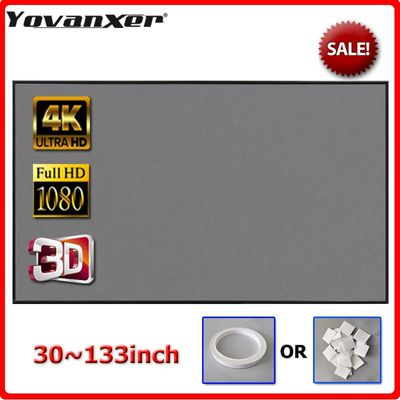 Yovanxer Projector Screen 72 84 100 120 130 133 inch Reflective Fabric for LED DLP Projector 3D Home Beamer Enhance Brightness