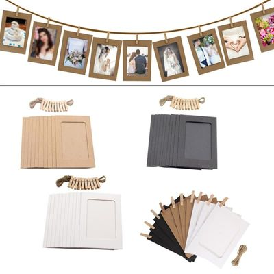 Photo Frame For Picture Wooden Photo Frame Clip Paper Picture Holder Wedding Wall Decor Graduation Party Photo Booth Props 10pcs