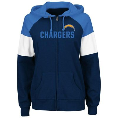 Los Angeles Chargers Majestic Women's Hot Route Full-Zip Hoodie - Navy