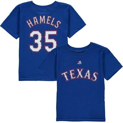Cole Hamels Texas Rangers Majestic Youth Player Name & Number T-Shirt - Royal