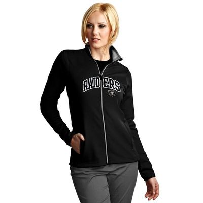 Las Vegas Raiders Antigua Women's Leader Full Chest Graphic Desert Dry Full-Zip Jacket - Black