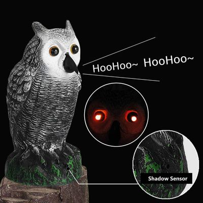 Dummy Hunting Fake Owl Decoy Deterrent Garden Decor With Eyes Glowing & Sound Resin+Plastic Off/Eyes Glowing/Analog Sound Only