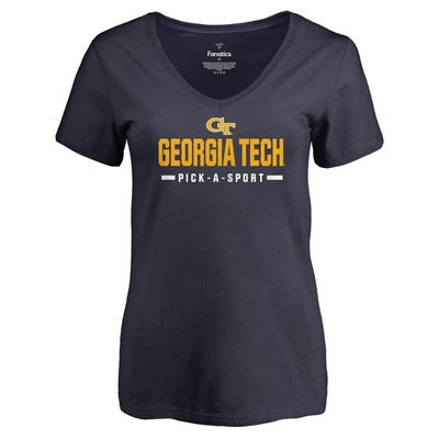 Georgia Tech Yellow Jackets Women's Custom Sport V-Neck T-Shirt - Navy