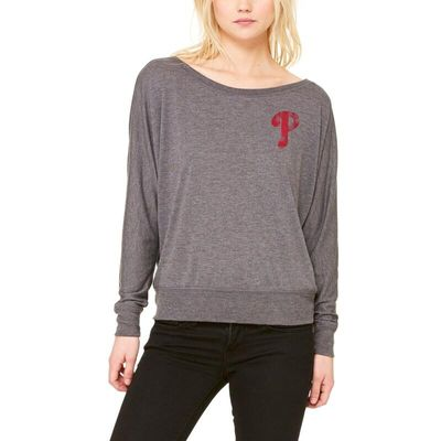 Philadelphia Phillies Let Loose by RNL Women's Winning Off-Shoulder Long Sleeve T-Shirt - Dark Heathered Gray