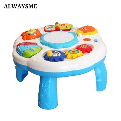 ALWAYSME Baby Infant Musical Activity Table Baby Toys Toddlers Educational Learning Table Toys With Piano And Pat Drum Light Up