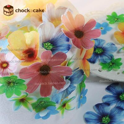 Edible flowers for cake decorations,37pcs wafer flowers cake idea decoration,edible paper for cupcake decoration