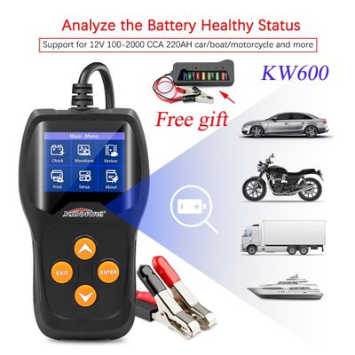 KONNWEI KW600 12V Car Battery Tester 100 to 2000CCA 12 Volt Battery Analyzer for the car Quick Cranking Charging Diagnostic Tool