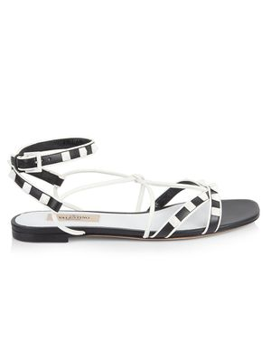 Valentino Garavani Two-Tone Rockstud Leather Flat Ankle-Strap Sandals