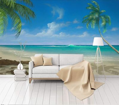 Custom wallpaper Hand-painted sea view background wall