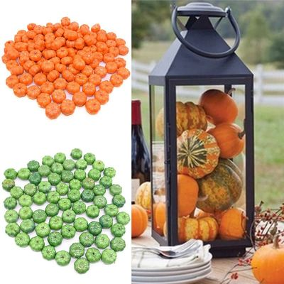 25/50pcs Orange Green Mini Halloween Artificial Pumpkin Fake Simulation Vegetable For Wedding Birthday Party Decoration Supplies