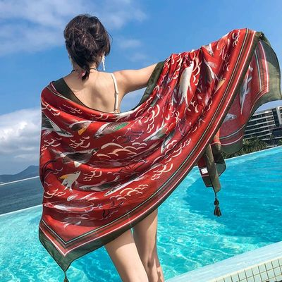 New scarf ladies summer national wind shawl scarf dual-use beach towel large sunscreen scarf red exotic boho