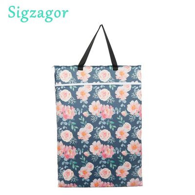[Sigzagor] 1 Large Hanging Wet/Dry Pail Bag for Cloth Diaper Inserts Nappy Laundry With Two Zippered Reusable