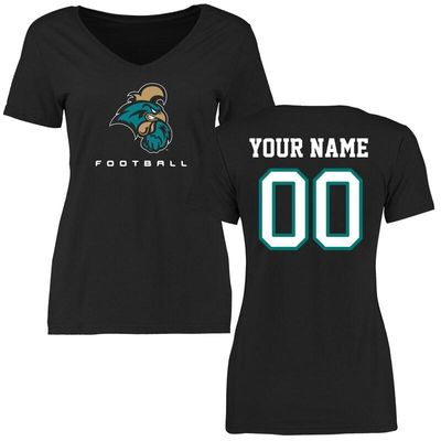 Coastal Carolina Chanticleers Women's Personalized Football T-Shirt - Black