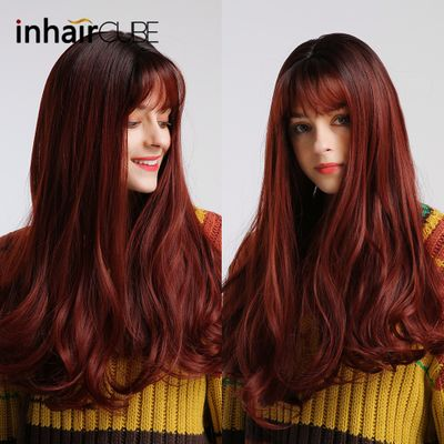 Inhaircube Long Ombre Wine Red Natural Wave Synthetic Hair with Bangs Real Scalp for White/Black Women Afro Free Shipping