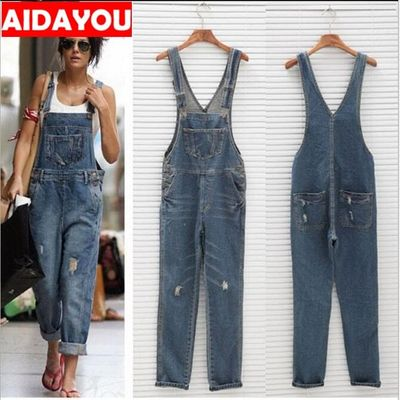 Womens Rompers Baggy Denim Jeans  Ladies High Waist hole Jeans and overalls ouc423