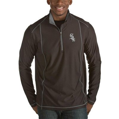 Chicago White Sox Antigua Tempo Half-Zip Pullover Jacket - Heathered Black