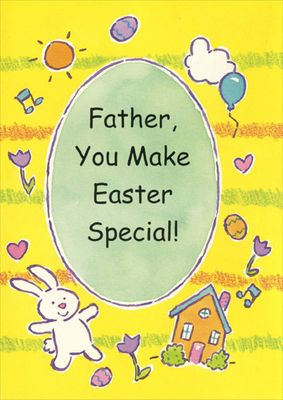 Freedom Greetings Bunny, Home, Egg, Balloon: Father Easter Card