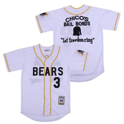 Throwback Jersey Bad News Bears Baseball Jerseys 3 Color White Stitch High Quality Wholesale Sports Wear Free Shipping