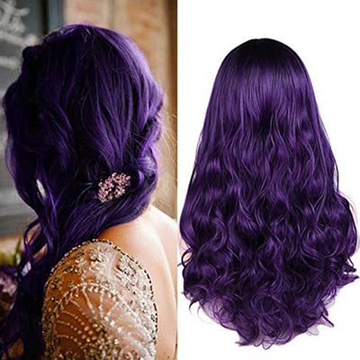FAVE Long Wavy Black Purple Dark Root 2 Tones Heat Resistant Fiber Synthetic Wig For Black Women Daily Cosplay Party Hair Wig