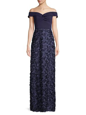 Aidan Mattox Off-The-Shoulder Ribbon Textured Gown