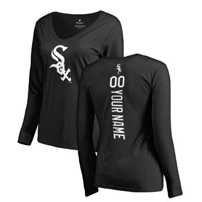 Chicago White Sox Fanatics Branded Women's Personalized Playmaker Long Sleeve T-Shirt - Black