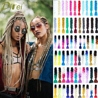 DIFEI Ombre Three Tone Colored Synthetic  Crochet Braids Hairstyle 100g/Pack Jumbo Braiding Hair
