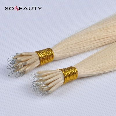 Sobeauty Straight Hair Bonded Nano Tip 0.8g/pcs Color  Blonde Remy Human Hair Extensions 50Strands/pack 613 extension keratine