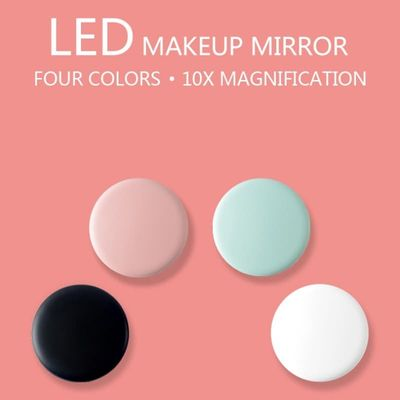 Four Color LED Lighted Mini Makeup Mirror 10X Magnifying Compact Travel Portable Sensing Lighting Makeup Mirror Make up Tool