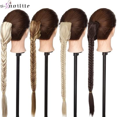 SNOILITE 21'' Synthetic Straight Claw On Ponytail Hair Extension Long Fishtail Braid Hair Clip In Drawstring Ponytail Hairpiece