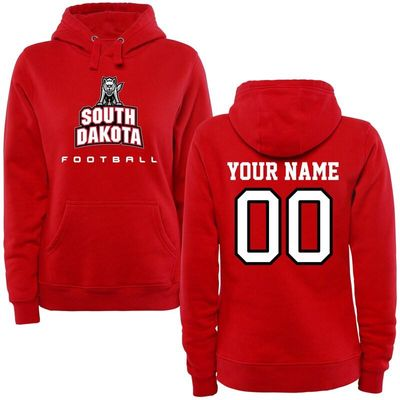South Dakota Coyotes Women's Personalized Football Pullover Hoodie - Red