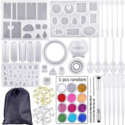 83Pcs Silicone Casting Molds And DIY Crystal Epoxy Tool Set with Drill and Bag Pendant Mold For Jewelry Bracelet Craft Making