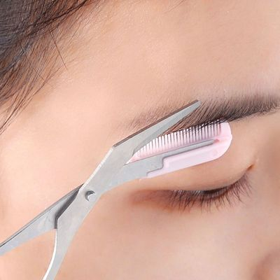 Makeup Pink Eyebrow Trimmer Scissors With Comb Hair Removal Shears Comb Grooming  Cosmetic Tool Eyelash Combing