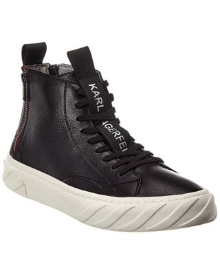 KARL LAGERFELD Double Back Zip Leather High-Top Sneaker